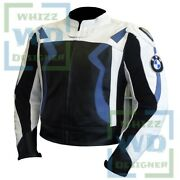 Bmw 3875 Blue Biker Jacket Leather Motorcycle Gear Motorcycle Racer Armour Coat