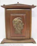 Abraham Lincoln Old Presidential Plaque Bronze Bust With Fine Wood Mount Base