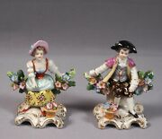 Derby Chelsea Gold Anchor Pair 2 Figurines Boy Girl 1700's Antique