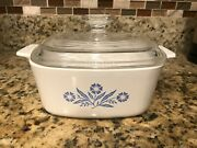 Rare Vintage Corning Ware Microwaveable Glass White Floral Pattern