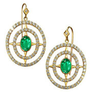 2.56ct Natural Round Diamond 14k Solid Yellow Gold Emerald Hook Stud Earring