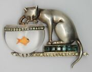 Aquilino Cat Jelly Belly Goldfish Fish Bowl Vintage Figural Pin Brooch