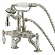Kingston Brass Cc2009t8 Vintage Clawfoot Tub Faucet With Hand Shower, Brushed...
