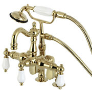 Kingston Brass Cc6015t2 Vintage Clawfoot Tub Faucet With Hand Shower, Polishe...
