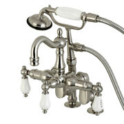 Kingston Brass Cc6017t8 Vintage Clawfoot Tub Faucet With Hand Shower, Brushed...
