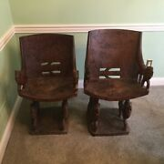 Vintage African Hand Carved Chairs. Set Of Two