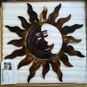 Metal Sun With Moon Unique Home Decor Garden Country Cottage Kitchen Wall Art