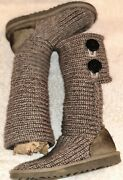Ugg Knit Mid-calf Ankle Boots Gray 5649 Classic Cardy Youth Us 13 Eu 30