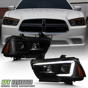 For 2011-2014 Dodge Charger Light Tube Projector Headlights W/switchback Signal