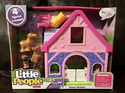 Nib Fisher-price Little People Pony Horse Stable - Pink 4 Figures Included Dcg19