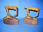 Two Very Small Rare Antique Victorian Cast Box Irons Smoothing Iron.  3 Inches