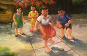 Children Playing Folk Art Oil Painting On Canvas Unframed Unsigned 24inx36in