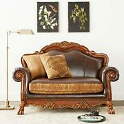 Acme 15161 Dresden Loveseat With 2 Pillows Chenille Pu Finish