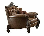 Acme Versailles Light Brown Faux Leather Chair With 2 Pillows