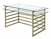 Acme Furniture 92535 Shona Desk, Antique Gold And Clear Glass