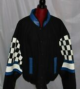 Burkand039s Bay Leather Jacket Blue Racing Checkers Black Checkered Bomber 2xl