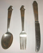 Vintage Norway Th Marthinsen Sterling Silver Youth 3pc Set Spoon Fork Knife Bear