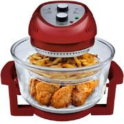 Tabletop Oil-less Air Fryer Convection Oven 16 Qt Red With Built In Timer 1300w