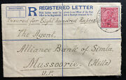 1913 Bijnor India Registered Letter Cover To Alliance Bank Mussoorie Wax Seal