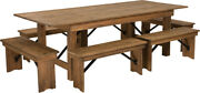 Hercules Series 8and039 X 40and039and039 Antique Rustic Folding Farm Table And Six Bench Set