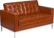 Hercules Lacey Series Contemporary Cognac Leathersoft Loveseat With Stainless...