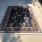 Antique Anatolian 1920andrsquos Animal Pictorial Blue Rug Veg Dyes Wool 6andrsquox8andrsquo Signed