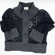 Tracy Reese Vintage Victorian Goth Style Ruffle Black Top Jacket Size P 2