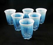 Duncan And Miller Canterbury Blue Opalescent Table Tumblers- Set Of 6- Rare Find