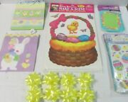 Easter Jumbo Cling 4 Sheets Paper Bags 4 Bows 8 Snack Servers 12 Cello Bags 100