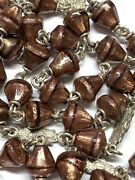 † Scarce Antique Sterling Goldstone Glittery Bell Shaped Rosary Necklace 34 †