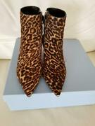 Authentic Prada Leopard Pony Hair Ankle Boots 37