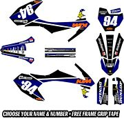 New Dirtx Industries Complete Graphics + Free Frame Grip Tape Kit Ktm Sx 50 Blue