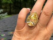 Suzanne Somers Sterling Huge Pear Cut And Small Round Cut Yellow Canary Cz Ring