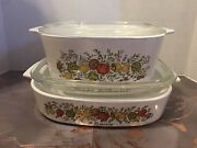 Rare Vintage 4 Pc Pyrex Casserole Dishes With Lids- Spice Of Life