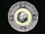 Charles Meigh And Son Mulberry Ware Decorative Scenic Plate - Circa 1845