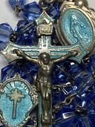 † Antique Sterling Turquoise Blue Guilloche Enamel Cross Center And Medal Rosary †