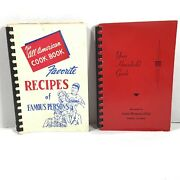 Vtg 1954 Eastern Star Spiral Cook Book And 1951 Household Guide Central Illinois