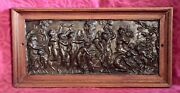 Antique High Relief And039dionysus Bacchanaliaand039 Bronze Plaques In Solid Oak Frame