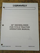 Gravely 48 Snowblower For 7173 H Tractor Operators Manual Form 38863