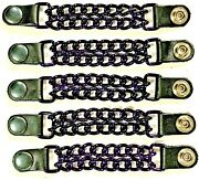 5 Candy Purple Powder Coated Double Chain Motorcycle Vest Extenders Usa Made