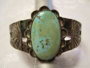 Old Pawn Vintage Chisel Cut Early Turquoise And Coin Silver Cuff Bracelet