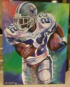 Signed Sports Memorabilia Emmitt Smith Psa Autographed Bill Lopa Canvas Painting