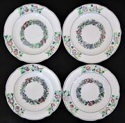 """Lot Four Copeland Late Spode Salad Plates Floral 7 ½"""" Marked 1918"""