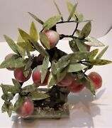 Chinese Carved Jade Large Fruit 2 Peach Tree Bonsai Soap Stone 14x11
