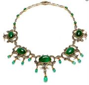 8.36cts Rose Cut Diamond Emerald Antique Victorian Look 925 Silver Necklace