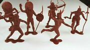 Plastimarx Vintage 6 Native American Figures 1-6 Made In Mexico Indian