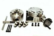 Rotary Table 4 Inch Or 100mm With Backplate And 65mm Lathe Chuck For Milling