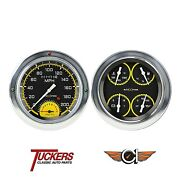 1954-55 Chevy Gmc Gauges Tach Auto Cross Yellow Classic Instruments Ct54axy62