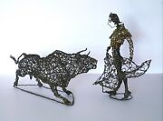 Vintage Mid Century Abstract Fine Art Twisted Wire Sculpture Bull And Matador