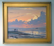 Original Pacific Sunset Landscape Oil Painting By Richard Wagner 1923 - 2009